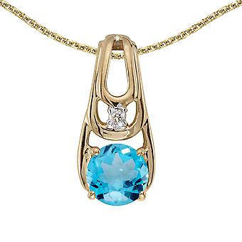 14k Yellow Gold Round Blue Topaz And Diamond Pendant with 18