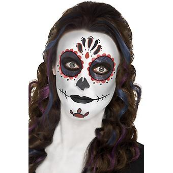 Smiffys Day Of The Dead Make Up Kit Set Face Paint Tattoo Halloween Fancy Dress
