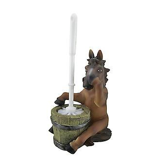Nose Holding Horse Helper Toilet Brush and Holder Set