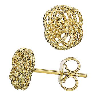14k Yellow Gold Twisted Cable 4 Line Love Knot Type Stud Earrings, 9 x 8mm