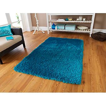 Luxury Vibrant High Sheen Blue Shaggy Rug - Geneva