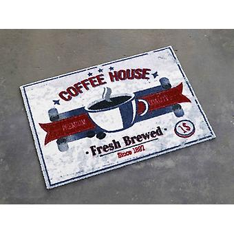 Beige blue red doormat dirt trapping pad coffee house 50 x 70 cm. 101920