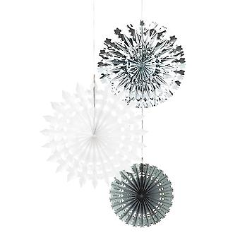 Talking Tables Christmas Fan Snowflake Decorations Silver / White / Grey x 3