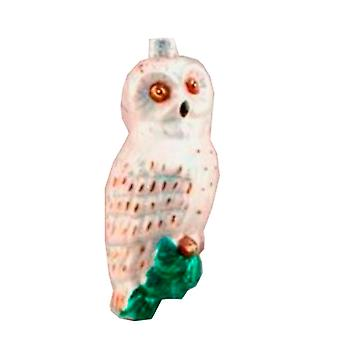 Great White Woodland Owl Glass Christmas Holiday Ornament