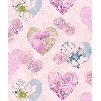 Floral Wallpaper Flowers Roses Love Hearts Novelty Luxury Heavyweight Pink