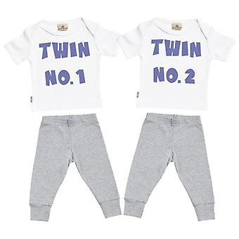 Spoilt Rotten Twin No.1 & No.2 Baby T-Shirt & Baby Jersey Trousers Twins Outfit Set