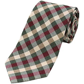 David Van Hagen Checked Wool Rich Tie - Country Green/Wine/Ivory