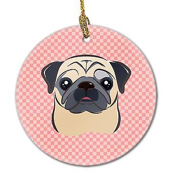 Carolines Treasures  BB1262CO1 Checkerboard Pink Fawn Pug Ceramic Ornament