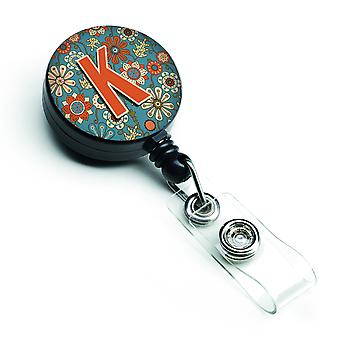 Letter K Flowers Retro Blue Retractable Badge Reel