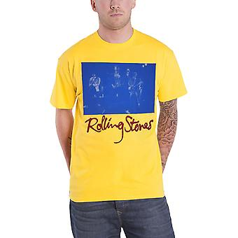 The Rolling Stones T Shirt Blue Sepia Band Stage Photo Official Mens Yellow