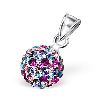 Ball - 925 Sterling Silver Crystal Pendants