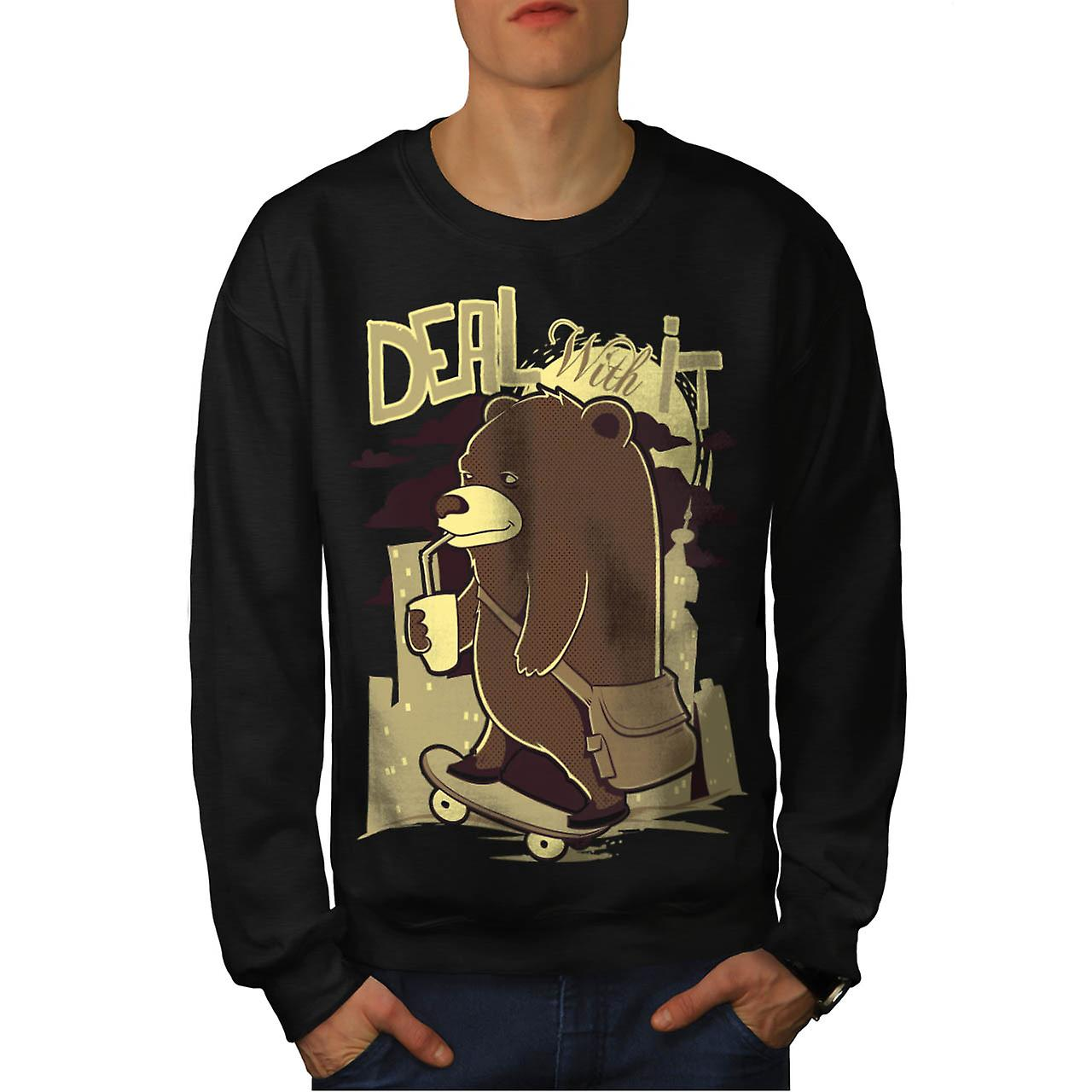 Deal It Bear Funny Men Black Sweatshirt | Wellcoda