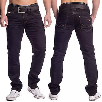 Men's jeans Black colored denim slim fit straight leg stretch trousers