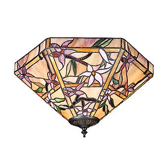 Clematis Medium Tiffany Style Two Light Flush Ceiling Fixture - Interiors 1900 70716