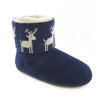 Womens/Ladies Christmas Design Light Up Slipper Boots