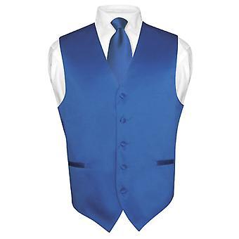 Men's Dress Vest & NeckTie Solid Neck Tie Set for Suit or Tux