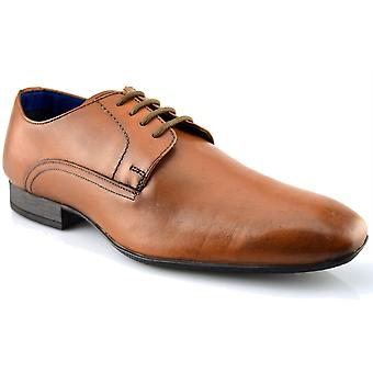 Mens New Tan Leather Lace Up Smart Wedding Dress Gibson Formal Shoes