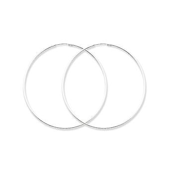 925 Sterling Silver Endless Hollow Tube Hoop Earrings - 55mm
