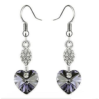 Heart Shaped Dangle Light Purple Earrings