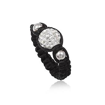 Ring Shamballa in cotton black and Pearl Crystal white - T52