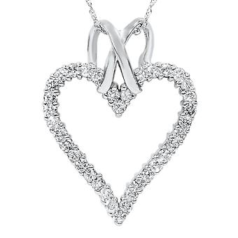 1 1/10ct Diamond Heart Shaped Pendant Necklace 14K White Gold