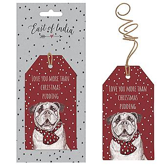 East of India Spotty 'Love You More Than Christmas Pudding' Bulldog Tags x 6