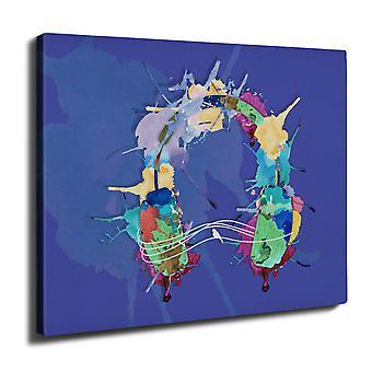 Headphones Colors Wall Art Canvas 50cm x 30cm | Wellcoda