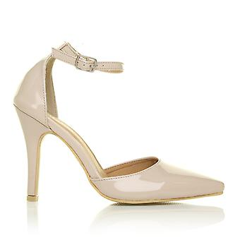 NEW YORK Nude Patent Ankle Strap Pointed High Heel Court Shoes