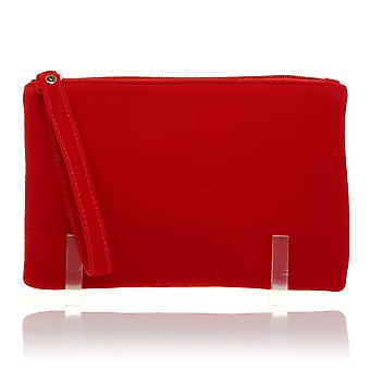 CHEEKY Red Faux Suede Clutch Bag/Purse With Wrist Strap