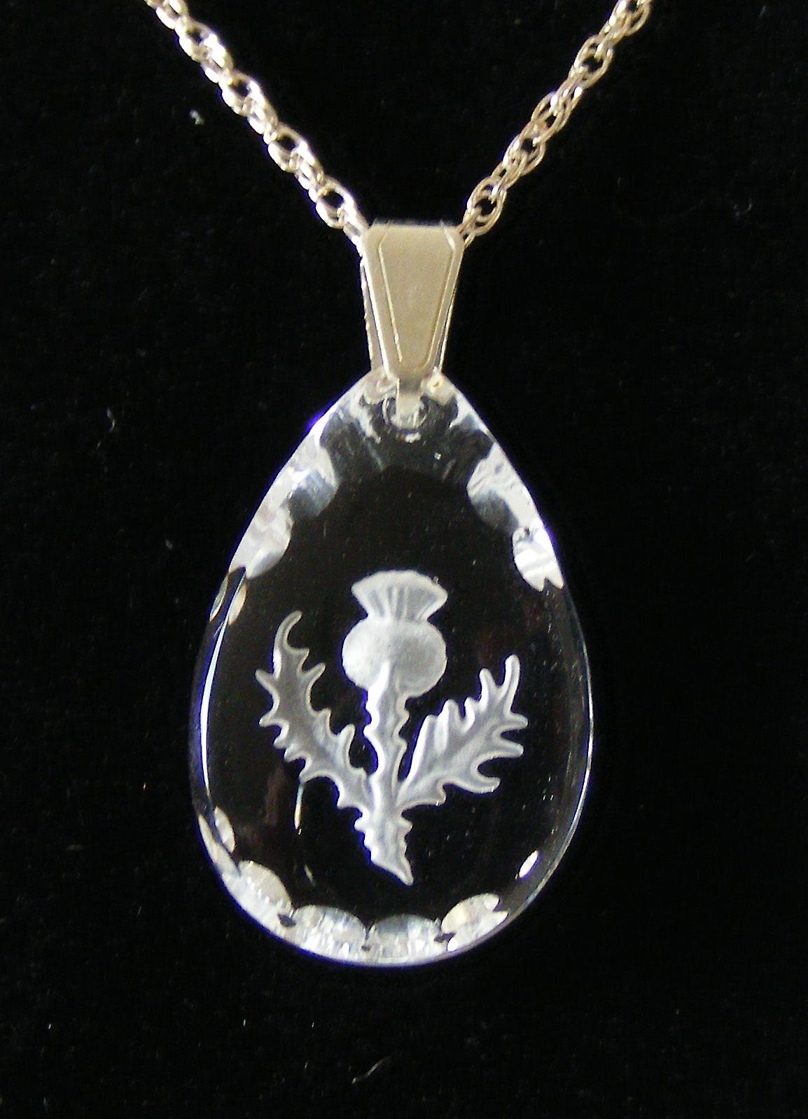 Frosted Thistle Teardrop Earrings and Small Pendant set