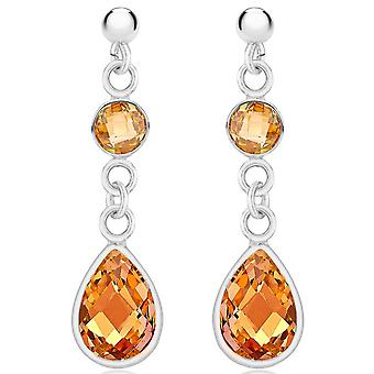 IBB London Champ Cubic Zirconia Drop Earrings - Silver/Orange