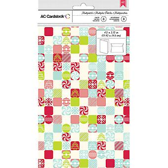 American Crafts Cards W/Envelopes 8/Pkg-Patchwork Candy