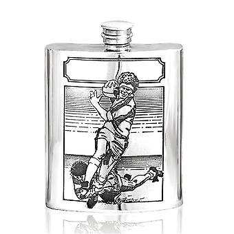 Rugby jogador do Pewter Hip Flask - 6oz