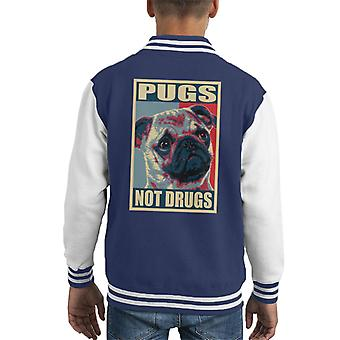 Pugs Not Drugs Kid's Varsity Jacket