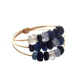 Gemshine - women's - ring - gull belagt - safir - blå