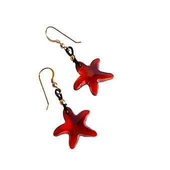 Earrings Starfish earrings red ENID, plated with Crystal element