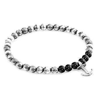 Anchor & Crew Black Onyx Keel Silver and Stone Bracelet