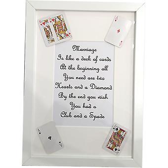 Wee Bee de matrimonio hechos a mano es como una baraja de cartas marco blanco