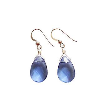 Ladies earrings 925 Silver Topaz quartz faceted drop blue 2 cm