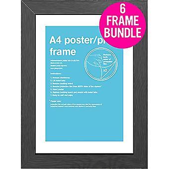 GB Posters 6 Black A4 MDF Poster Frames 29.7 x 21cm Bundle