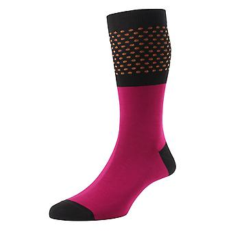 Hockney men's fuschia polka-dot socks by Pantherella. Made in England from Egyptian cotton lisle