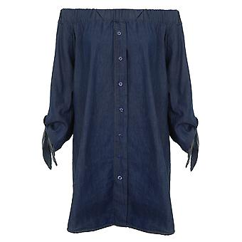 Ladies Off Shoulder Bardot 3/4 Knot Sleeve Denim Button Up Shirt Dress