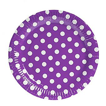 TRIXES 10PC Pack lila Polka Dot Party Pappteller