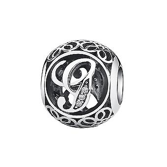 Sterling silver charm with zirconia stones letter G