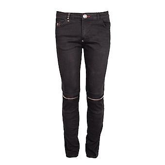 Philipp Plein MDT0133 Artistic 62WA Black Biker Jeans