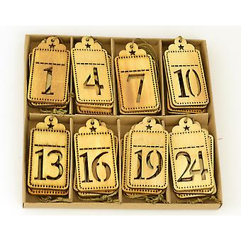 24 Wooden Numbered Advent Christmas Gift Tags for Crafts
