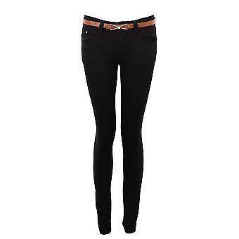 New Ladies Slim Fit Skinny Belted Coloured Denim Women's Jeans