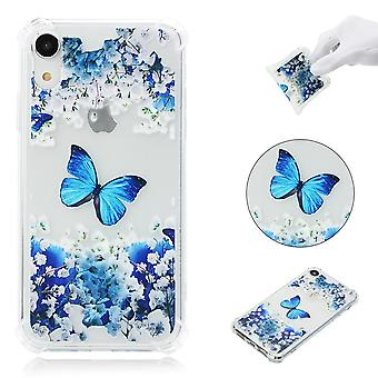 iPhone XR TPU Skal - Blue Butterfly and Flower