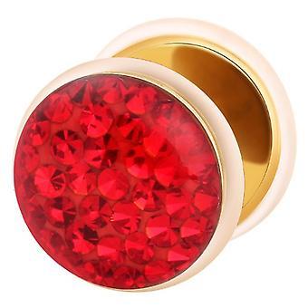 Falske snyder øret Plug Guld belagte, ørering, krop smykker, med Multi krystal røde