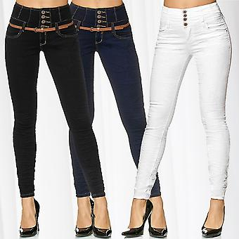Ladies High Waist Jeans Trousers Pants Tube Denim Stretch Skinny Corsage Tube